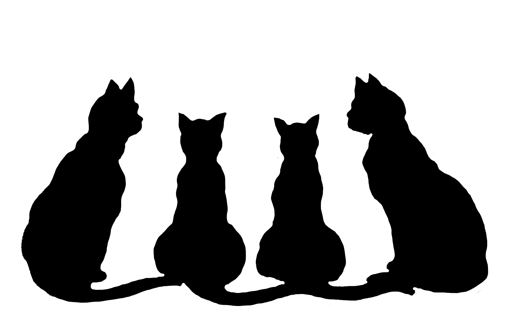 silhouettes of four cats