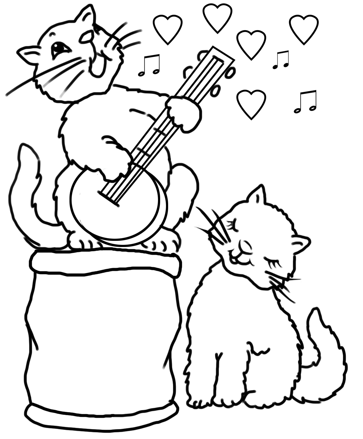two cats in love and a love song on banjo