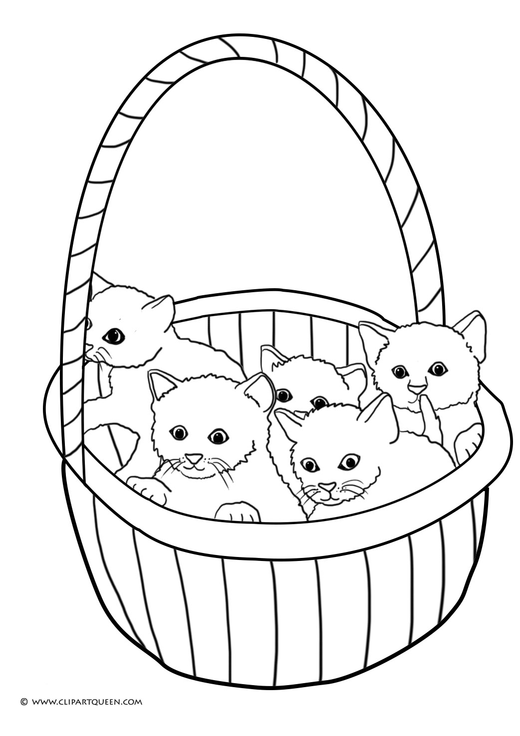 Cat Catching Butterfly Five Kittens In A Basket Cute Coloring Page
