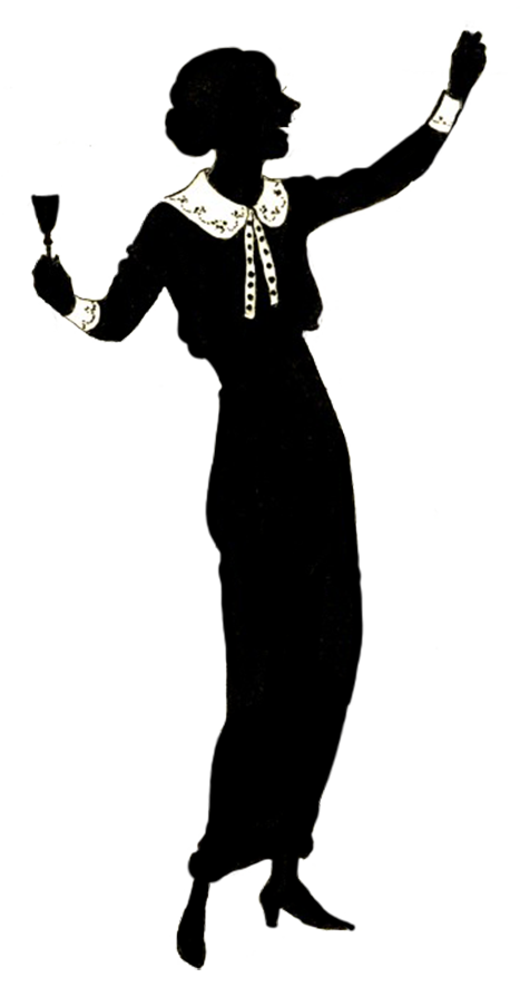 silhouette of celebrating woman