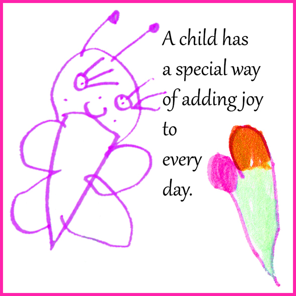 image quote with children's drawing