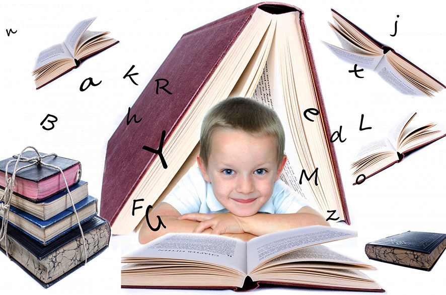 child reading books