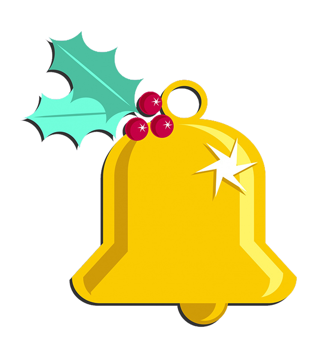 Christmas bell with Holy leaves and berries