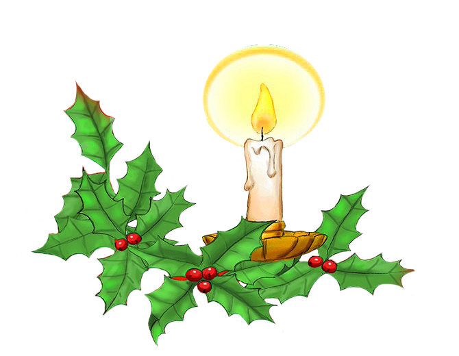 Christmas candle and holy leaves