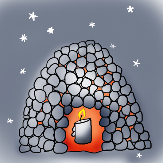 Candle igloo in the night