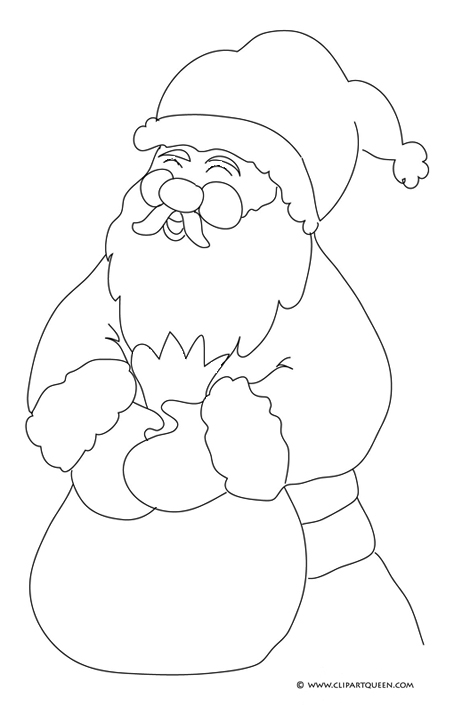 Santa coloring page laughing Santa with sack