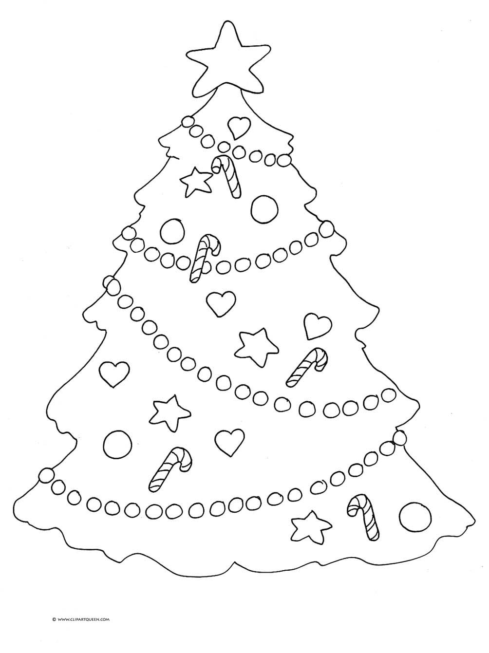 Christmas tree coloring page star decorations ...