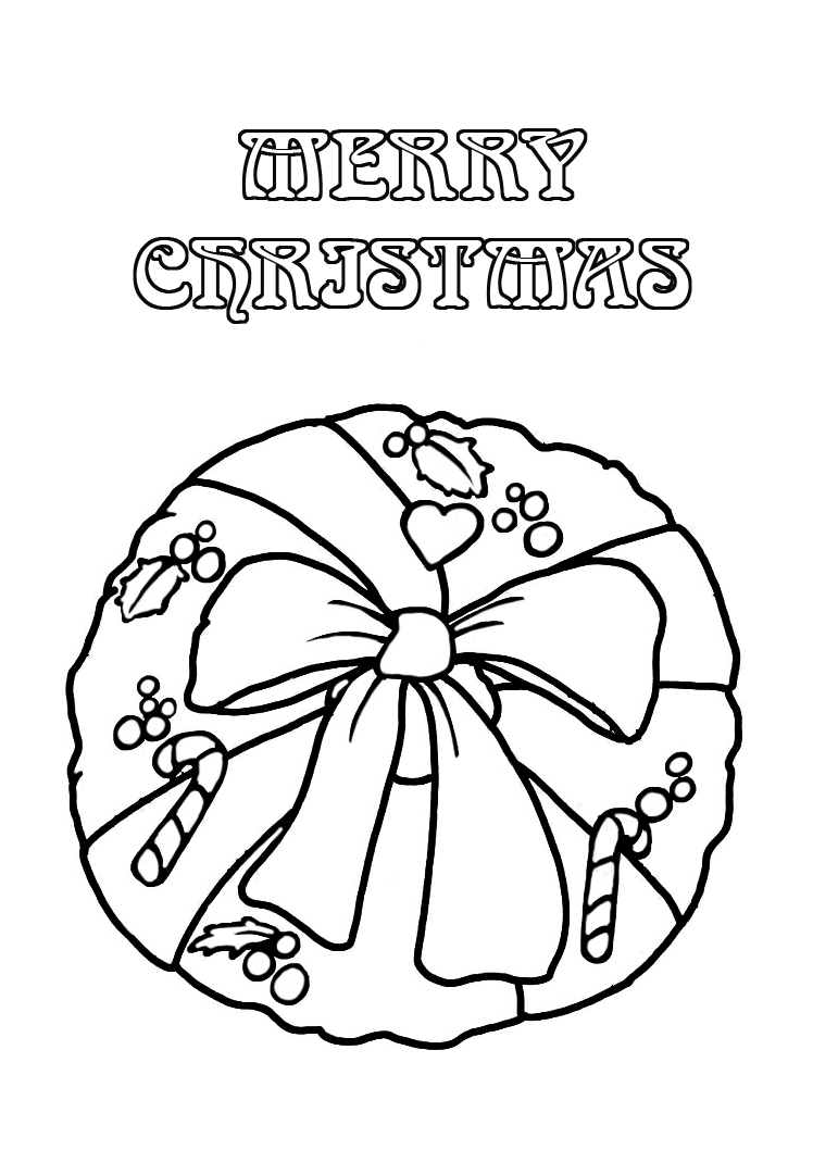 Christmas coloring pages wreath with bow candy