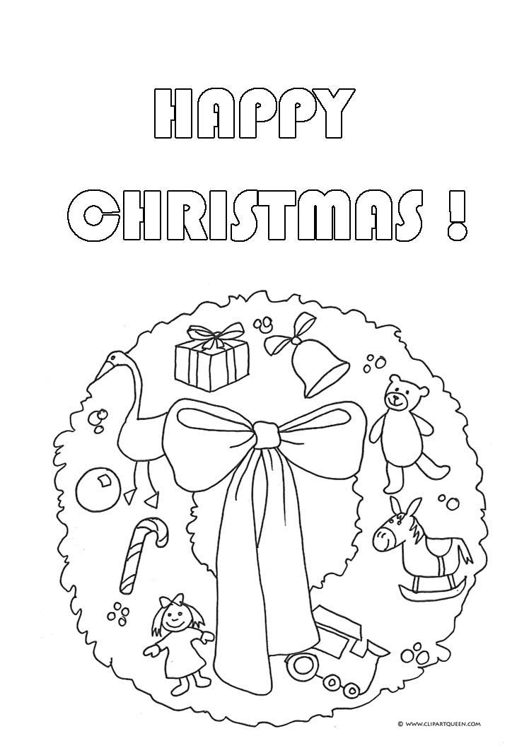 Christmas coloring pages wreath with bow candy · happy christmas wreath presents