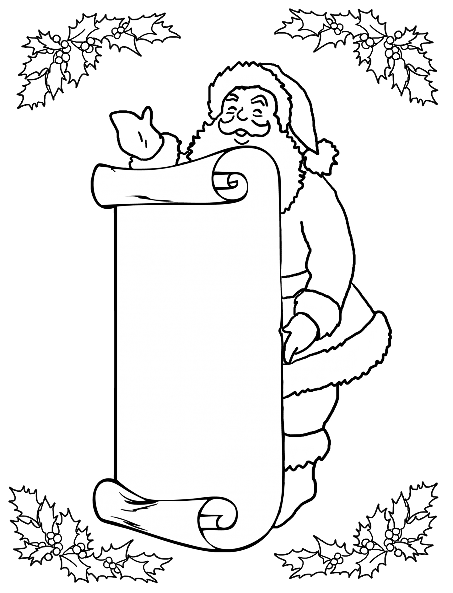 Santa with wish list for coloring