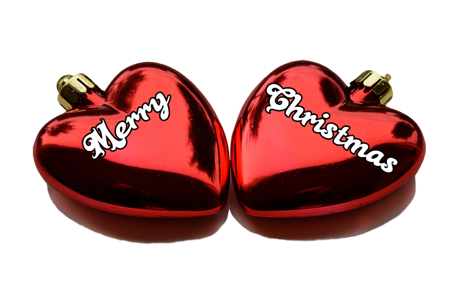 Merry Christmas greeting on hearts