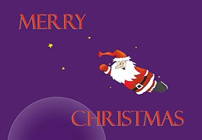 Christmas greeting card with Santa flying in space
