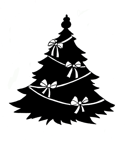 Christmas tree silhouette with white ribbons
