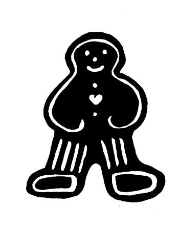 christmas ginger bread man silhouette