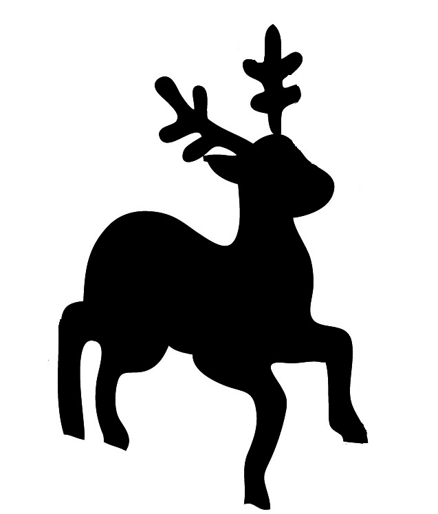 Silhouette of cute reindeer