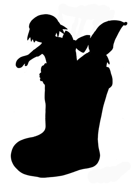 Christmas stocking with doll clip art silhouette