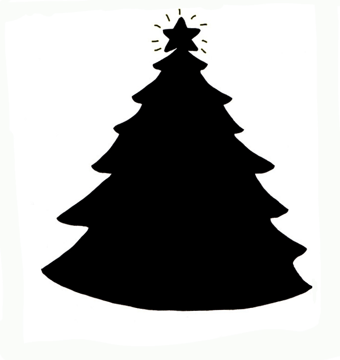 Christmas silhouettes of Christmas tree with star