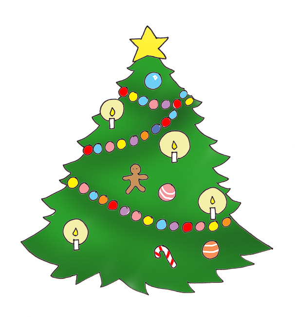 Christmas tree with baubles ornaments candles