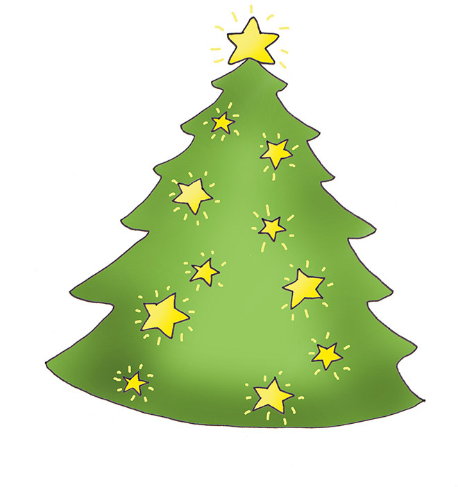 Christmas tree with shining stars