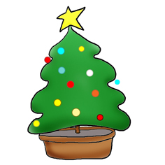 christmas clip art tree star decorated