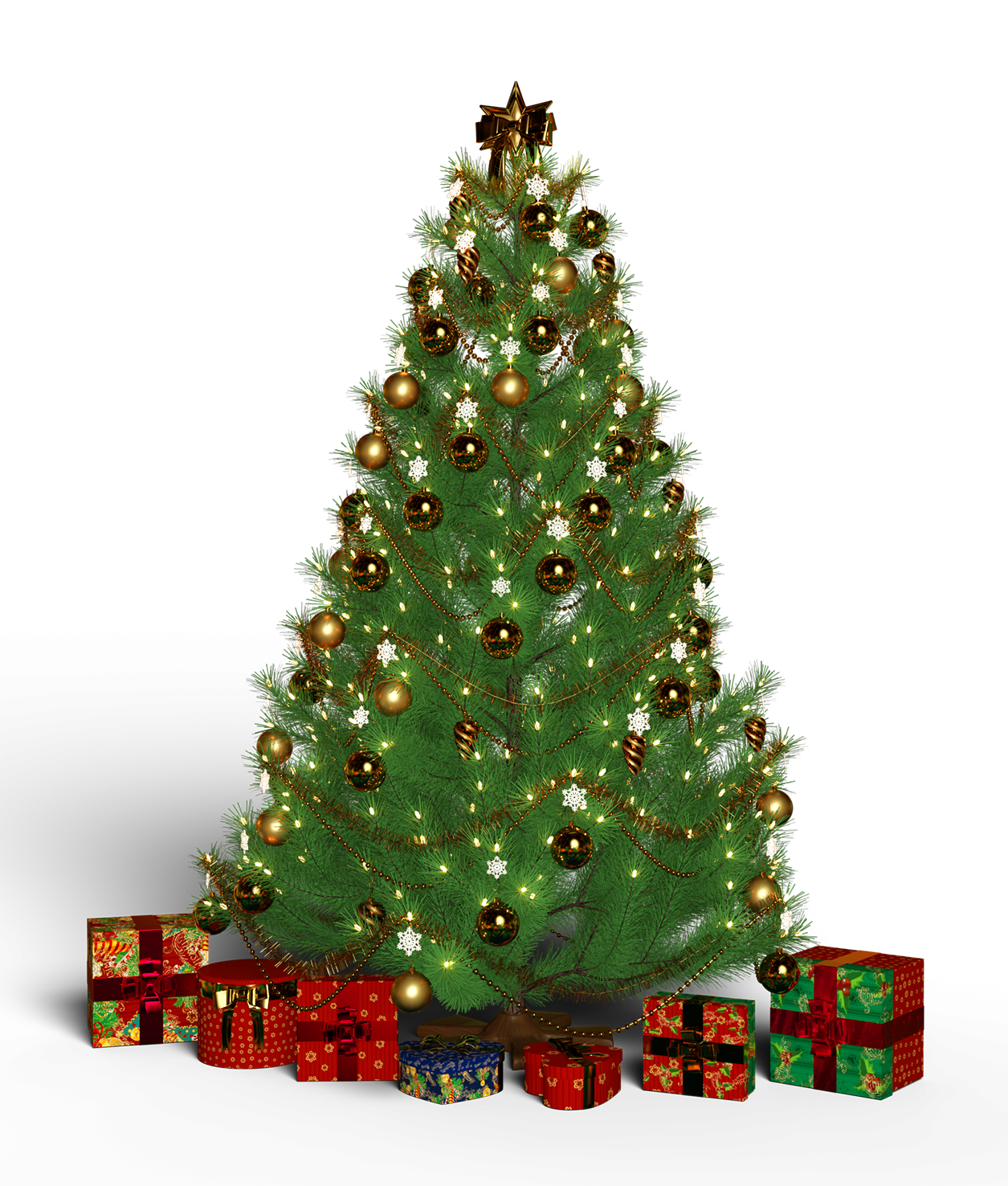 Christmas tree with presents PNG