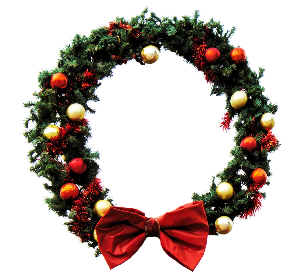 Christmas wreath with white background