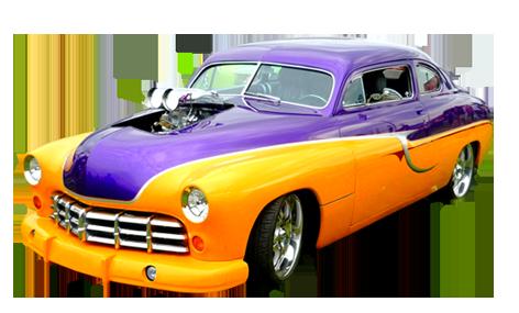 orange and lila vintage car