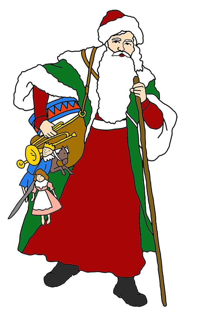 Christmas clip art Santa with sack and gifts