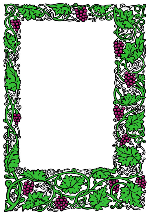 vintage picture frame with grapes and wine leaves