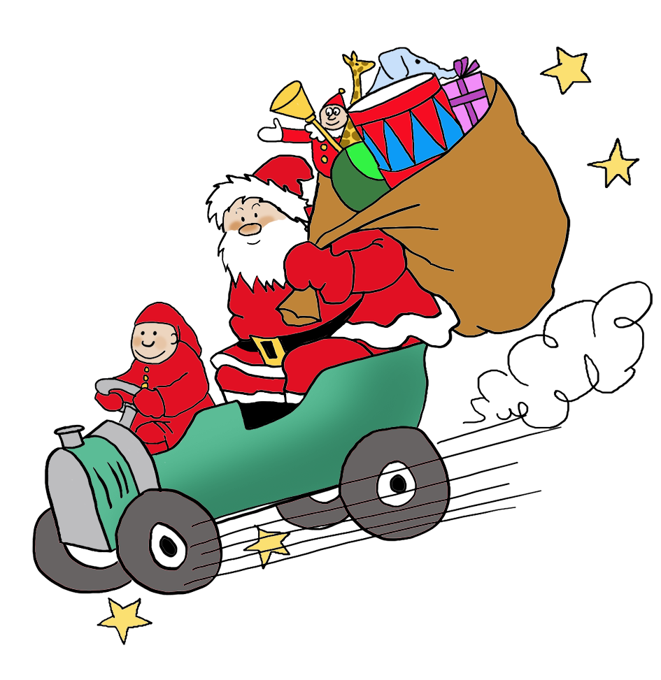 Santa bringing presents by car