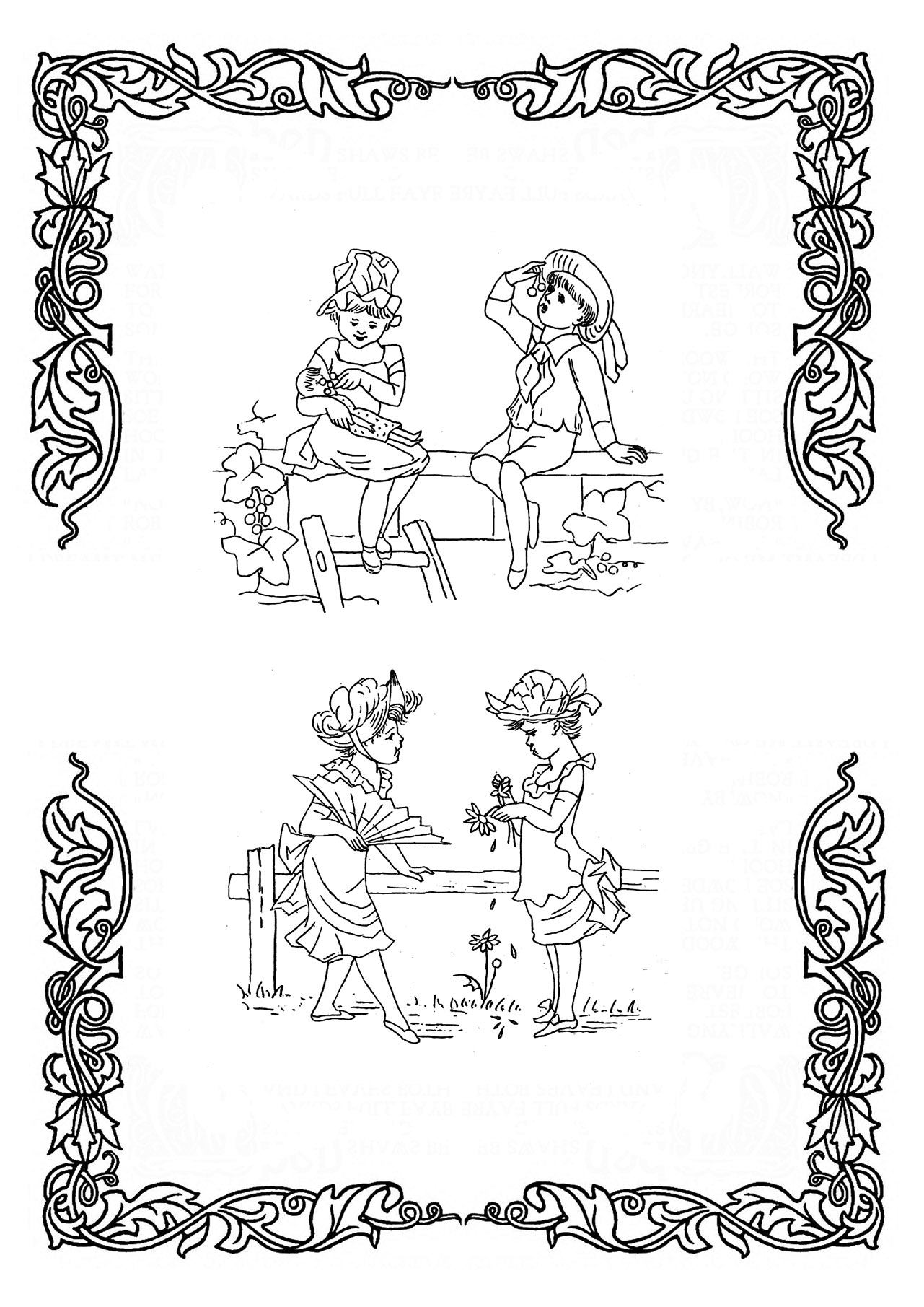 coloring images with Victorian children