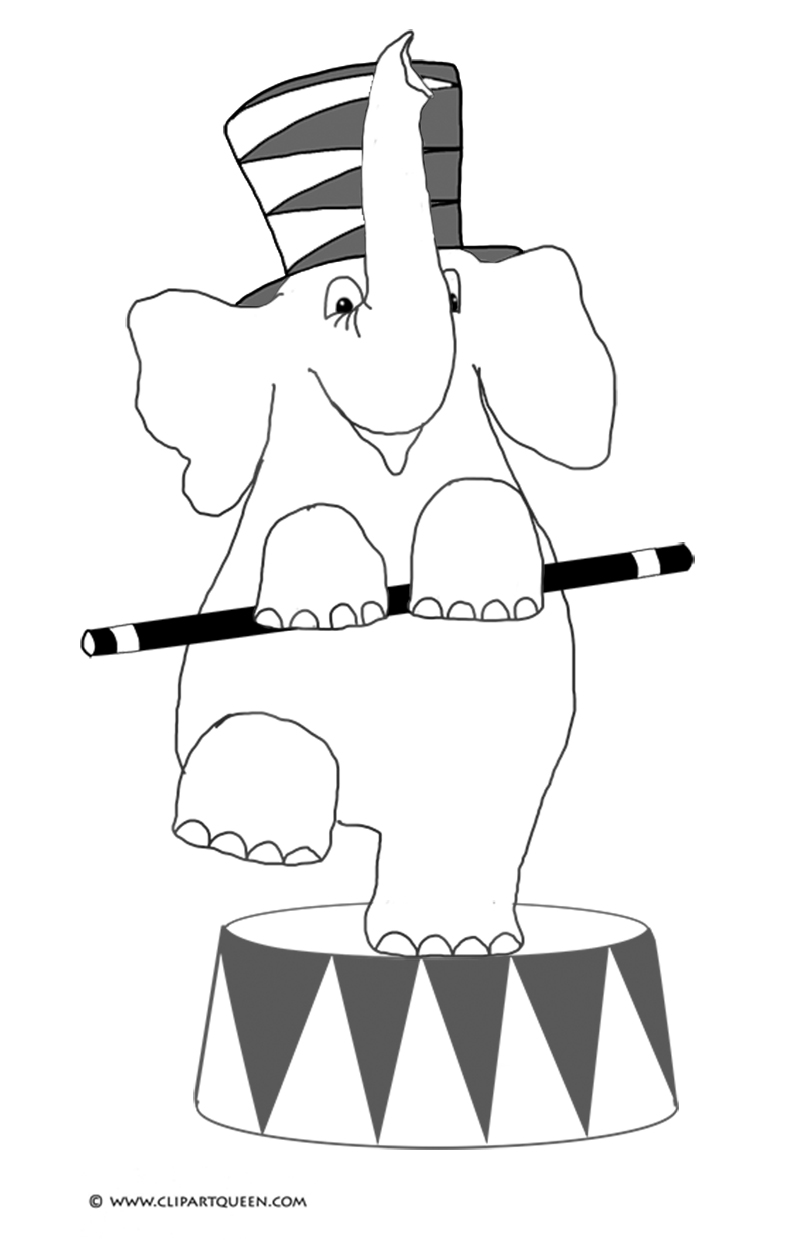 coloring page with circus elephant