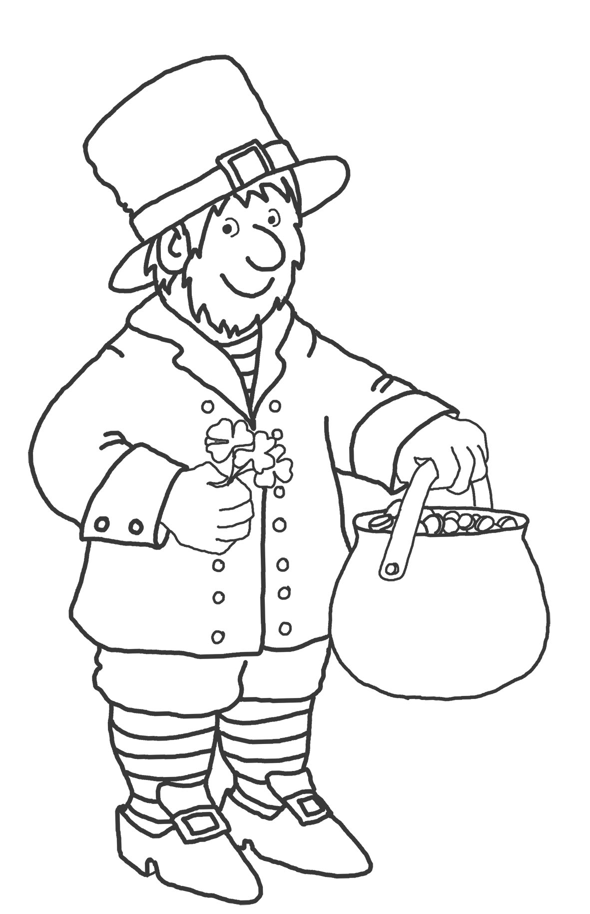 coloring page with leprechaun for st. Patrick's day