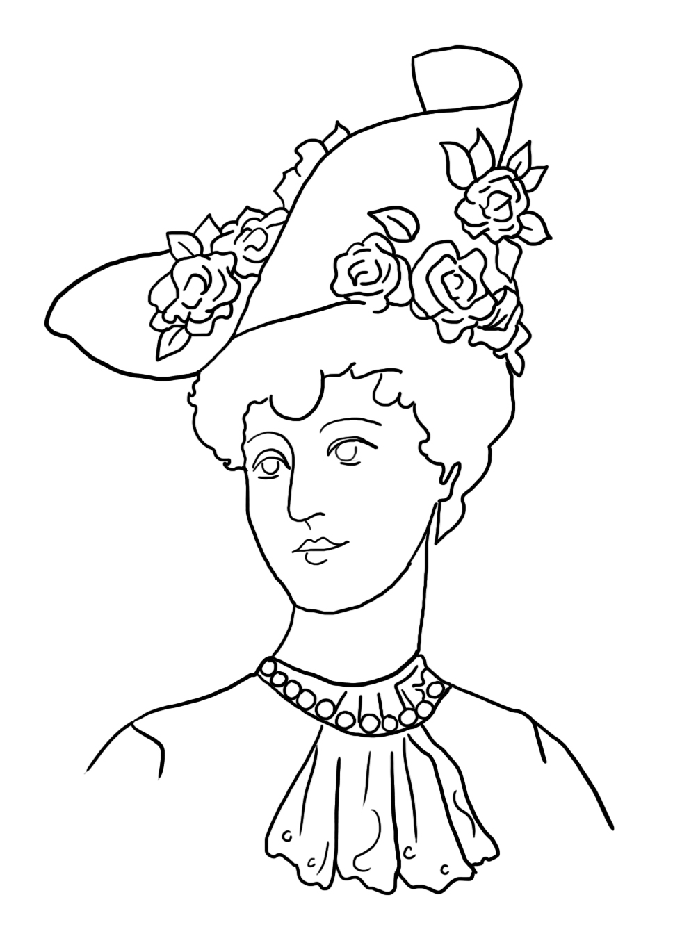 Coloring page Victorian Lady hat