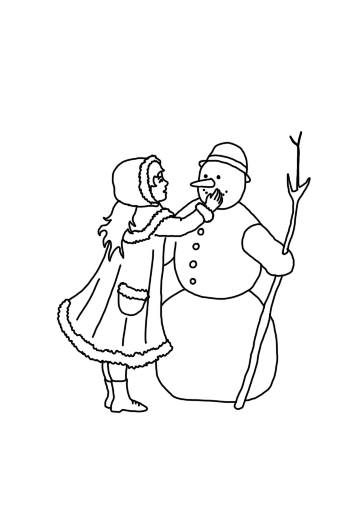 coloring page with girl and snowman