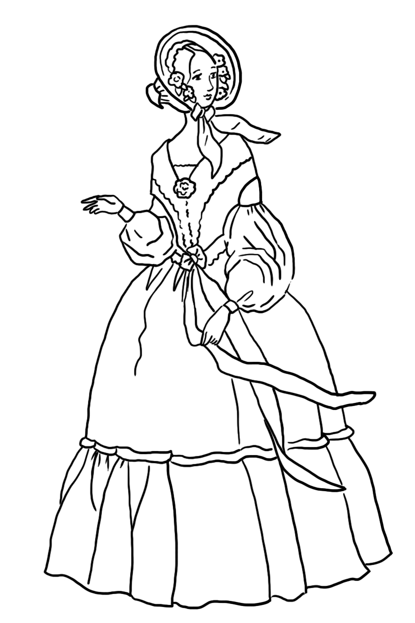 coloring sheet Victorian era