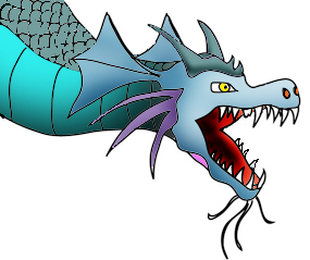 Dragon drawings head of blue dragon