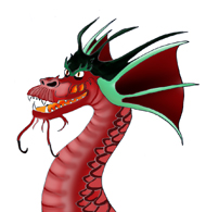 cool dragon head red