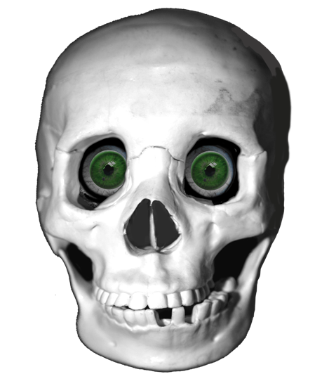 cool skull with green eyes