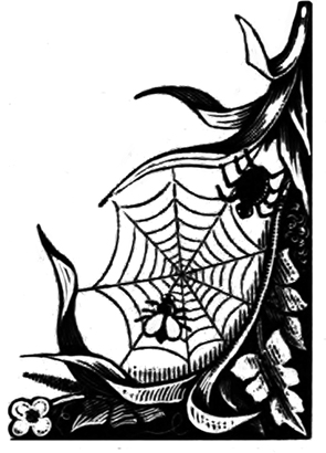 corner ornament with spider and fly