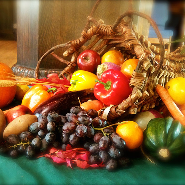 cornucopia with harvest fruits