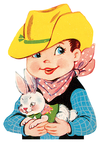cowboy birthday child with rabbit