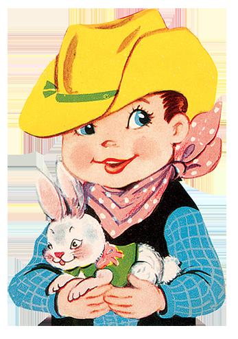 cowboy birthday child with rabbit