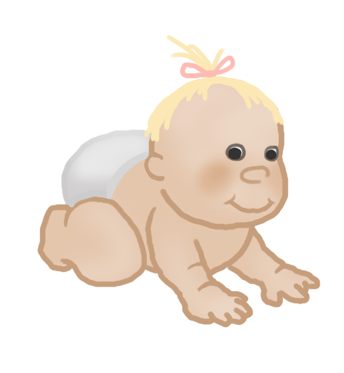 baby clipart crawling baby girl