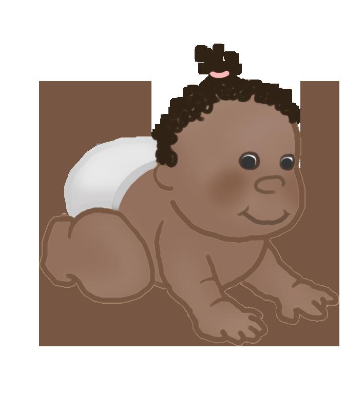 crawling baby clipart dark curls