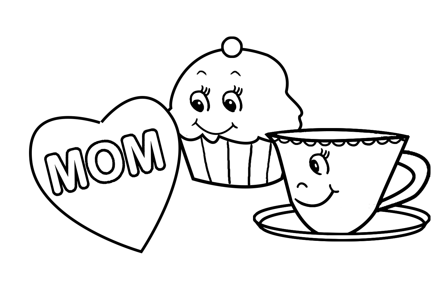 mom heart and cup of tea and cupcake