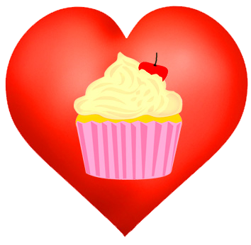 cupcake heart for Valentine's day