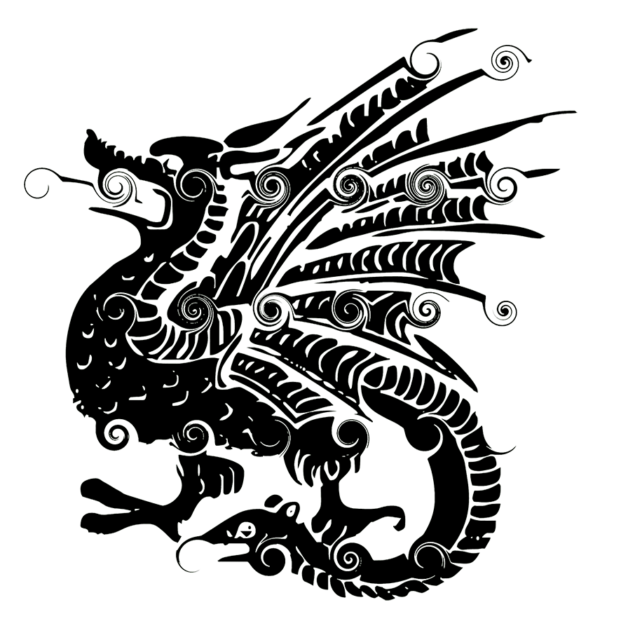 curly dragon clipart