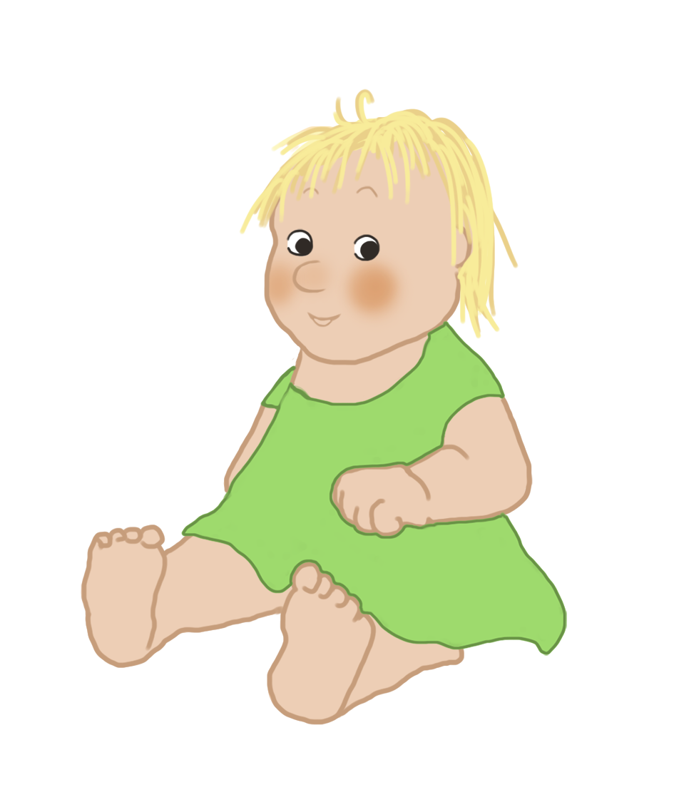 baby clipart cute in green