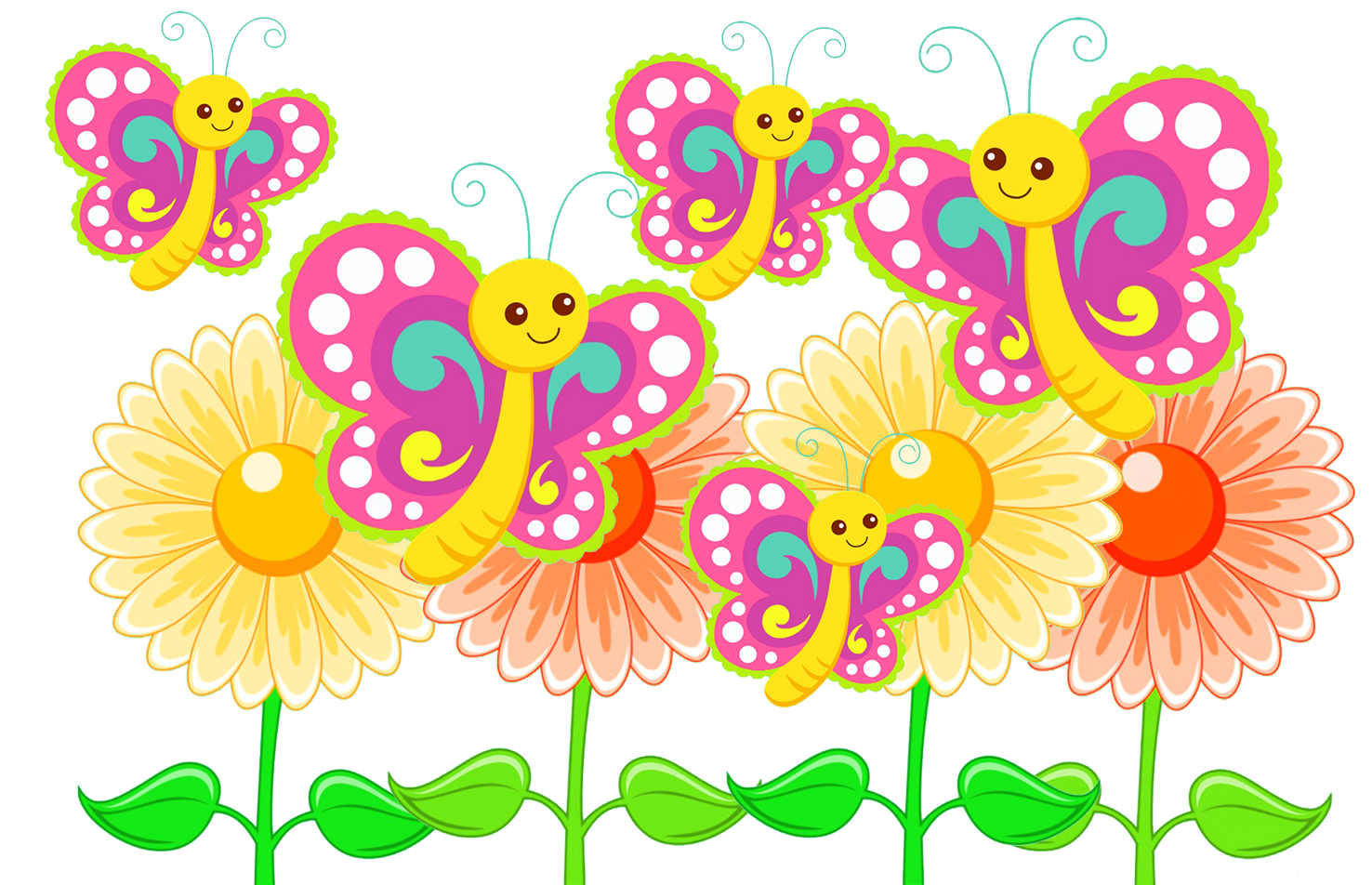 cute butterflies and flowers